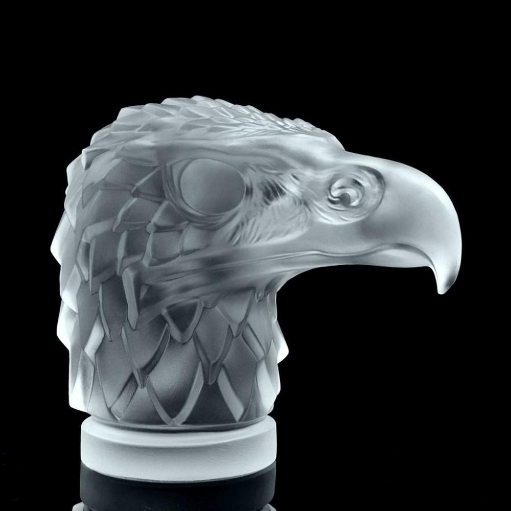 Art Deco 1930' Crystal Car Mascot Sculpture ' Head Eagle ' Cut Figural Hood Ornament H.Hoffmann By Lalique