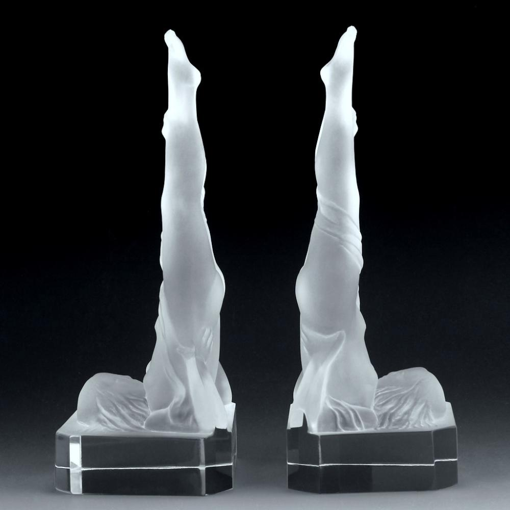 Bohemian Art Deco Nude Figural Satin Art Glass Bookends H.Hoffman by Lalique