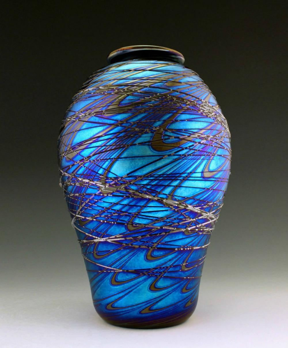 Bohemian Art Nouveau Iridescent Glass Vase Glamorous Loetz or Tyffany Studios Decor