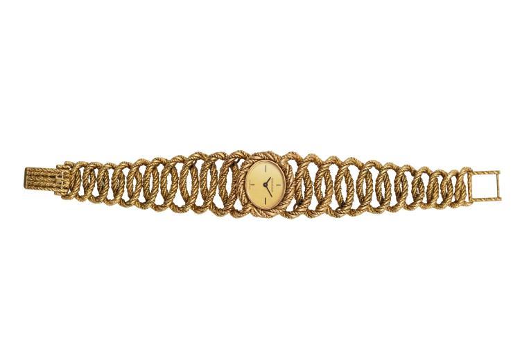 Montre Jaeger LECOULTRE en or jaune 750 avec bracelet or ,remontage  ~ Montre Bracelet Bois