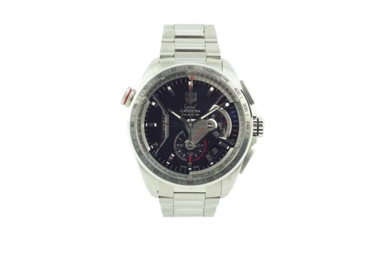 Montre TAG HEUER, Grand Carrera, calibre 36, acier, bracelet acier ,chronographe, seconde en guichet, remontage automatique, Diamètre 45 mm A rare stainless steel men's chronograph tachymeter wristwatch