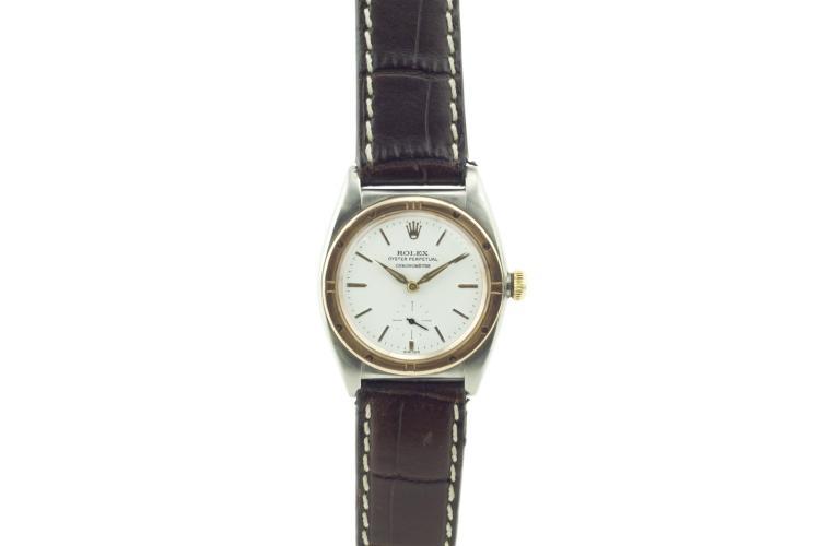 Montre ROLEX bicolore, remontage automatique, bracelet cuir,