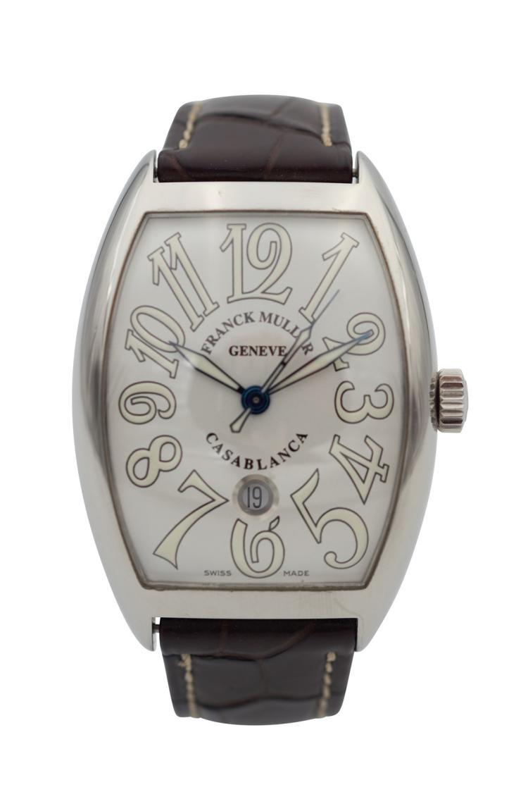 Lot 371 Montre Franck MULLER Casablanca en acier, bracelet cuir, avec  ~ Montre Bracelet Bois