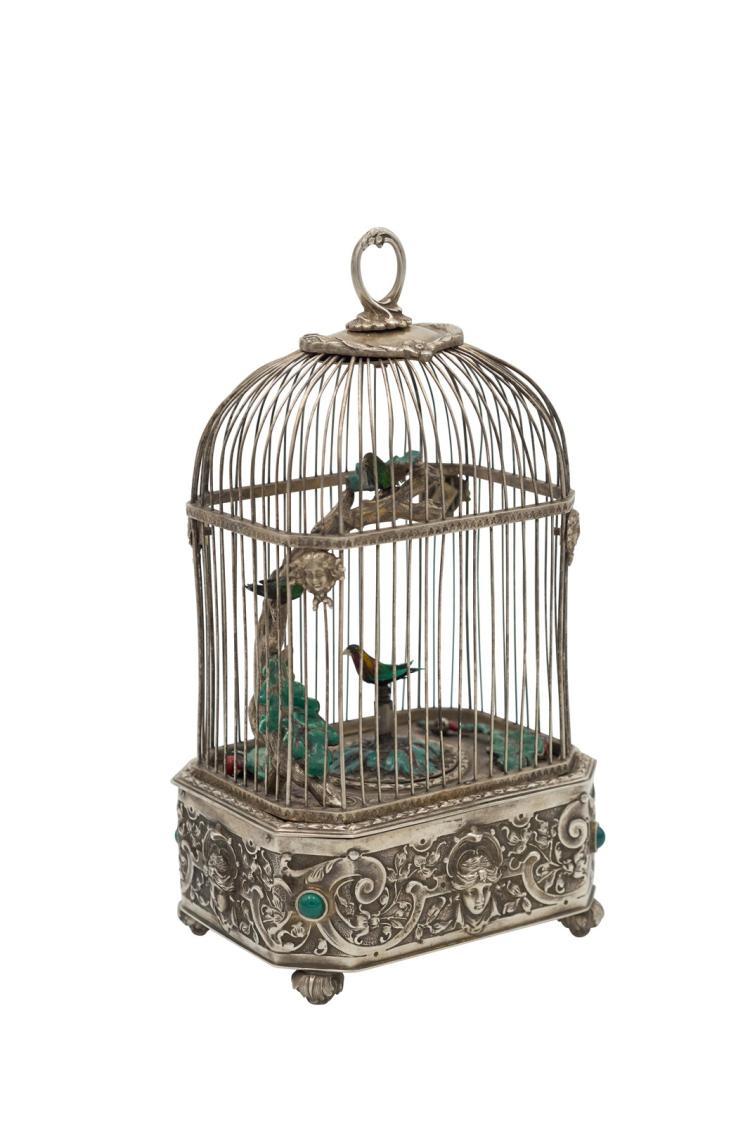Anonyme boite musique cage oiseaux chanteurs en argent for Cages a oiseaux decoratives