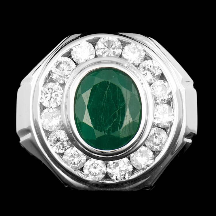 14k white gold 3 00ct emerald 1 80ct mens ring