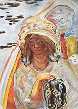 BONNARD Pierre (1867-1947).  Femme au chien dans une barque