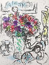 CHAGALL Marc (1887-1985).  Couple et grand vase aux fleurs
