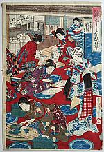 Japon, XIXe.  Geishas dans un intérieur