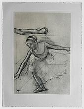 DEGAS Edgar (1834-1917).  Danseuse levant la jambe