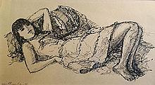 CHAMBAZ Marius (1905-1988).  Femme allongée