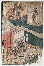 TOYOKUNI Utagawa (1769-1825) .  Scènes de la vie quotidienne
