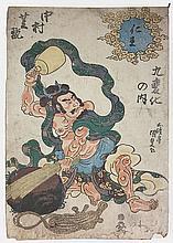 KUNISADA Utagawa (1786-1965).  Raijin (De la série Matsuri)