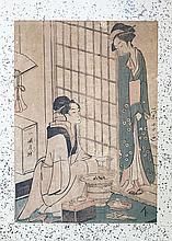 Japon, XIXe.  Deux courtisanes dans un intérieur