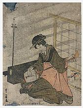 Japon, XIXe.  Joueuse de Luth
