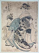 KORYUSAI Isoda (1735-1790).  Femmes en Kimono (De la série Hinagata Wakana)