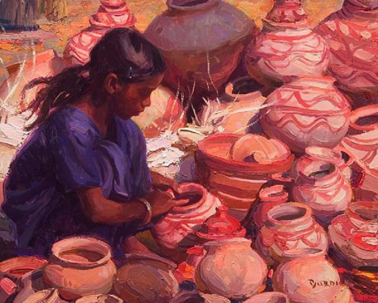 Scott Burdick, Selling Pottery, India