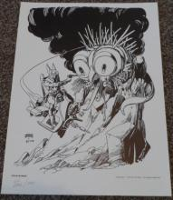 Star Hawks National Cartoonist Society Print Signed Gil Kane 1978