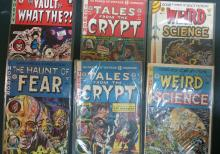 6 Horror comics: Tales from the Crypt # 2,3, Vault of what the?! #1,  weird science #3,4. The Haunt of fear #1