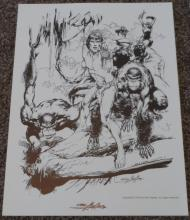 "Tarzan National Cartoonist Society Print Signed Neal Adams 1978 12"" x 16"""