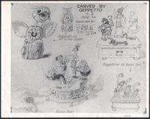 "PINOCCHIO Production Print Model Sheet by Walt Disney ""Toys CARVED BY GEPPETTO"""