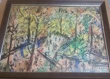 Vincent Drennan original watercolor park scene