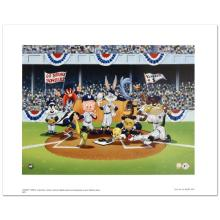 Line Up At The Plate (Yankees) is a Collectible Lithograph from Warner Bros. with Hologram Seal and Certificate of Authenticity!