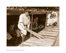 Babe Ruth in Dugout with Facsimile Signature