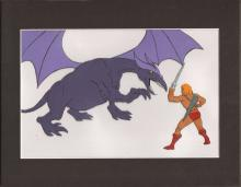 He-Man and the Masters of the Universe original production animation art cel of HE-MAN FIGHTING A DRAGON FROM EPISODE 8
