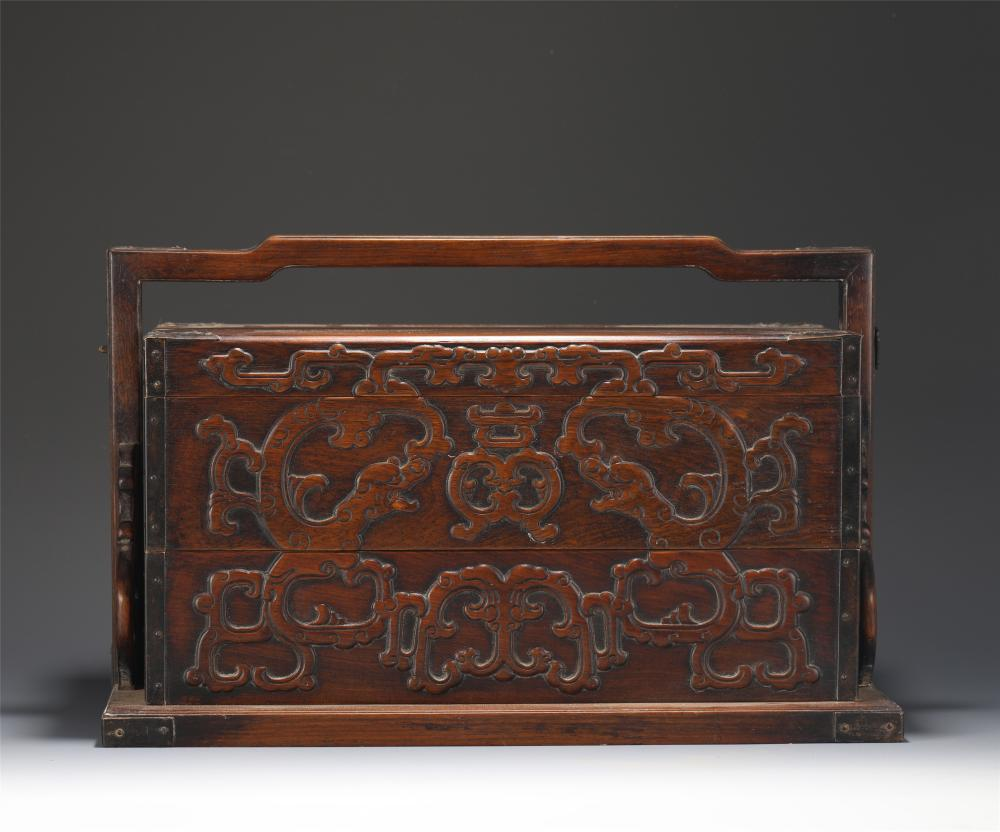 A CARVED ALOES-WOOD FOOD CABINET
