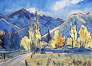 Hawea Landscape - Frank Gross Mixed media on paper 45 x 59 Signed