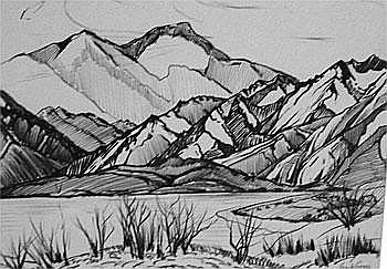 Lake Wanaka - Frank Gross Charcoal 46 x 60 Signed