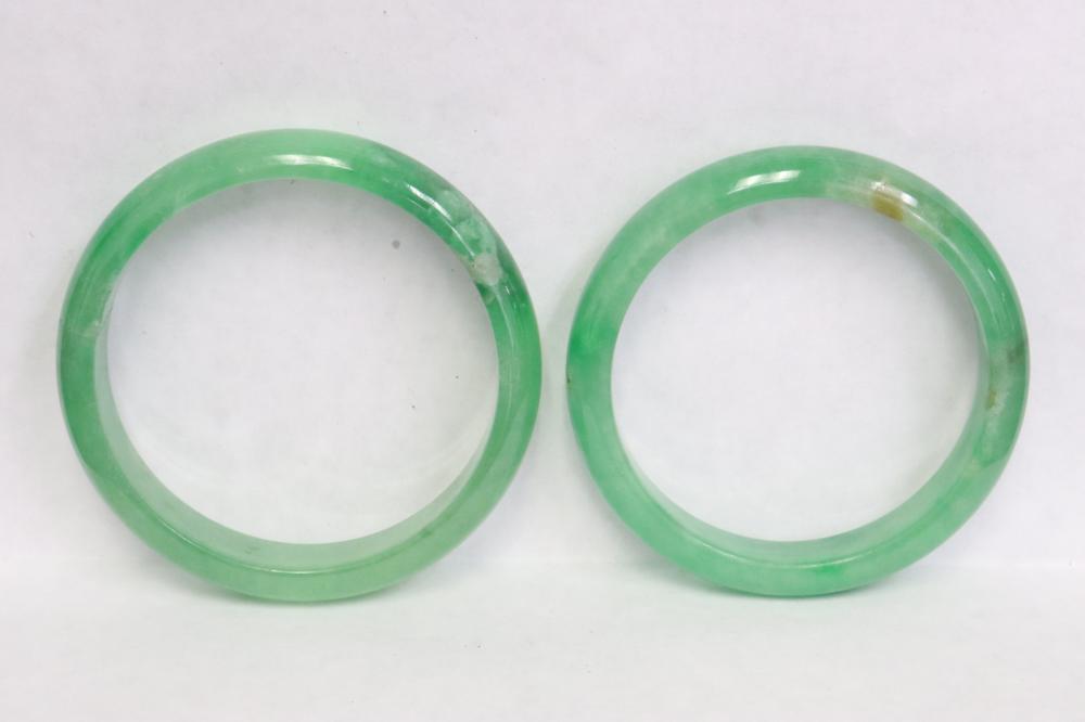 2 fine jadeite like bangles