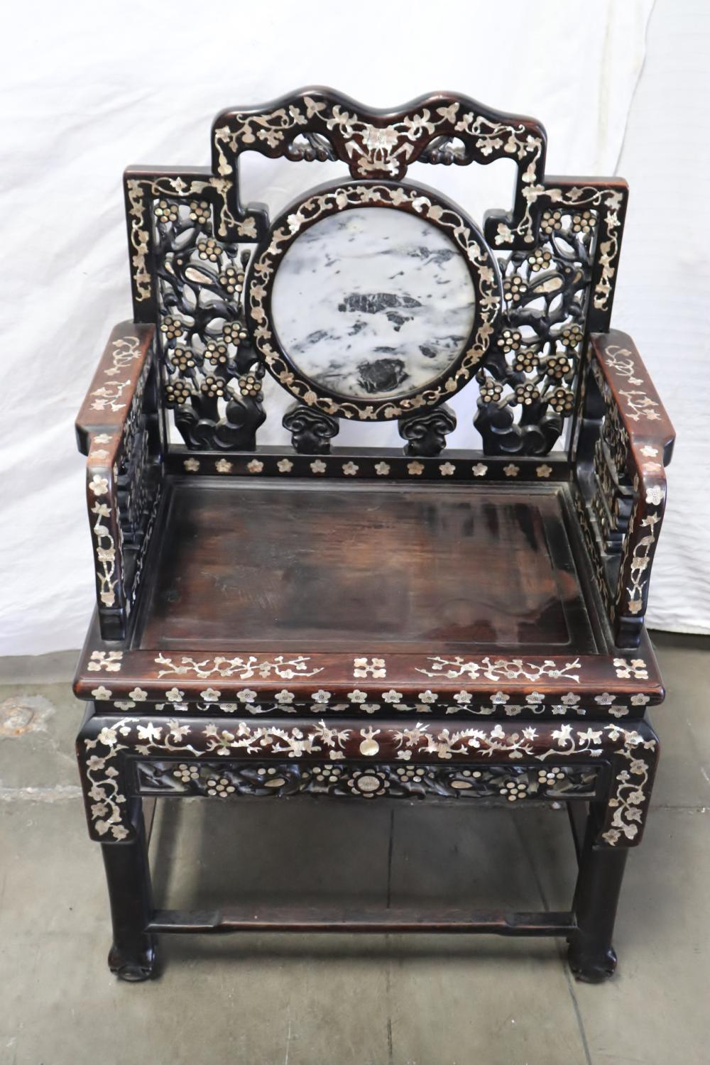 Chinese antique rosewood armchair w/ MOP inlaid
