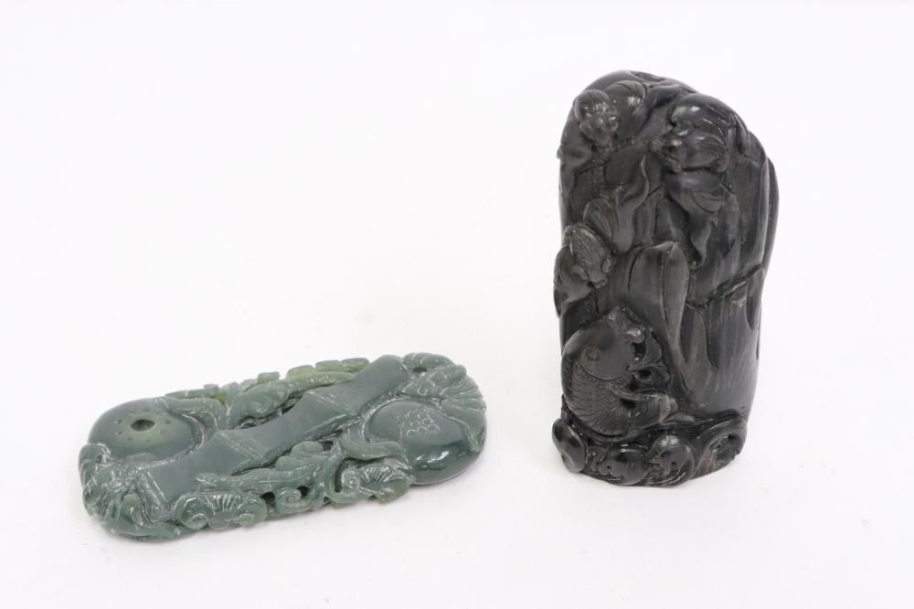 Chinese black jade(?) carving & a green jade ornament