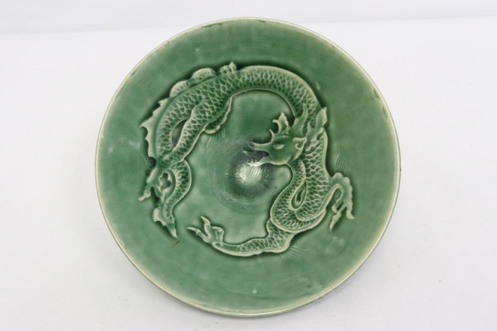 A green glazed porcelain bowl