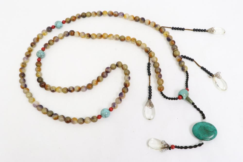 A long Chinese agate bead necklace