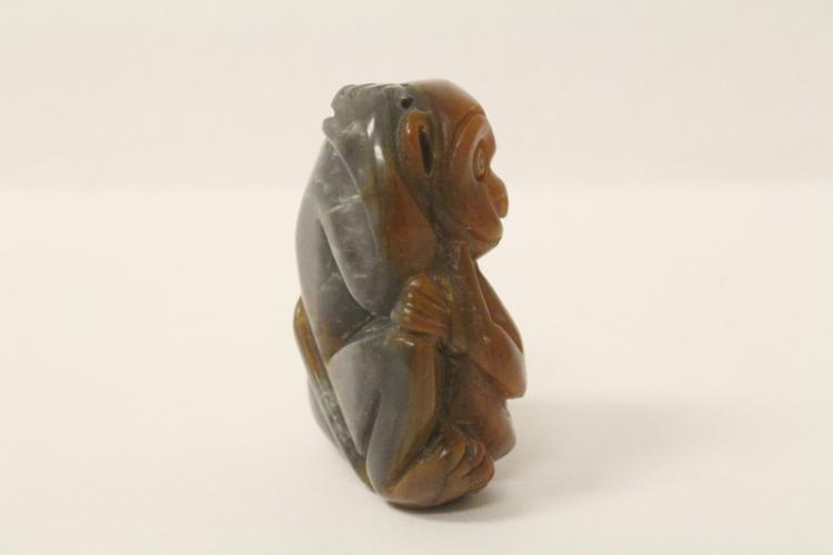 Jade like stone carved monkey