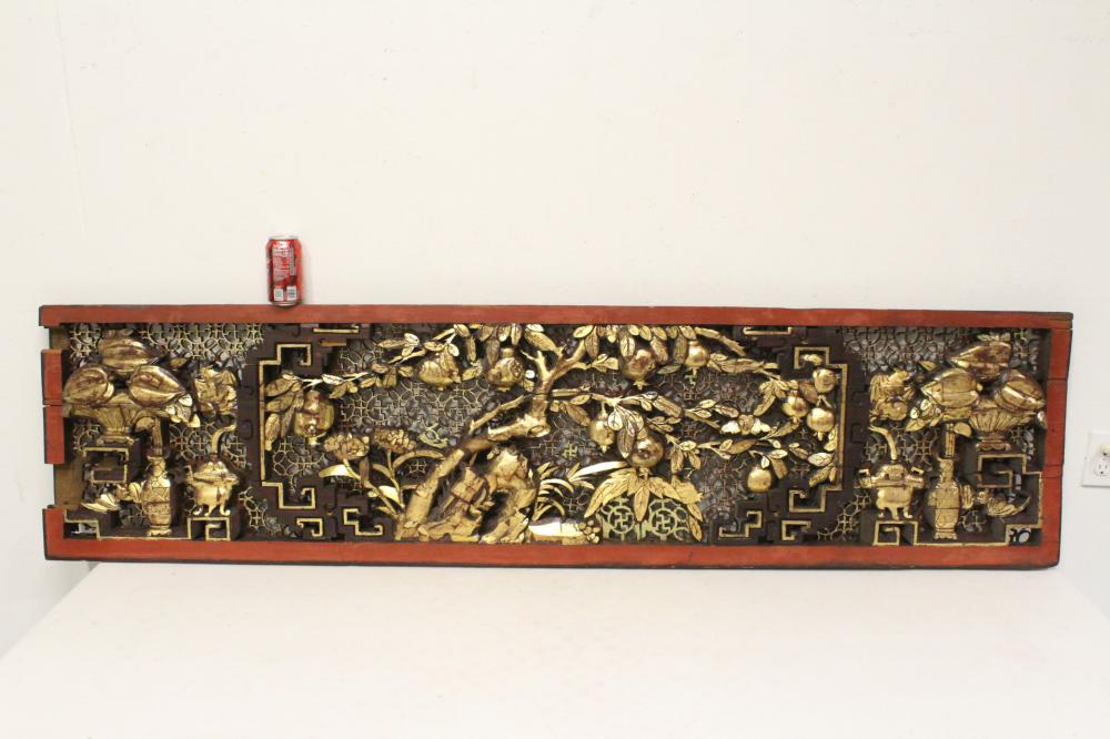 Large antique Chinese painted & gilt panel