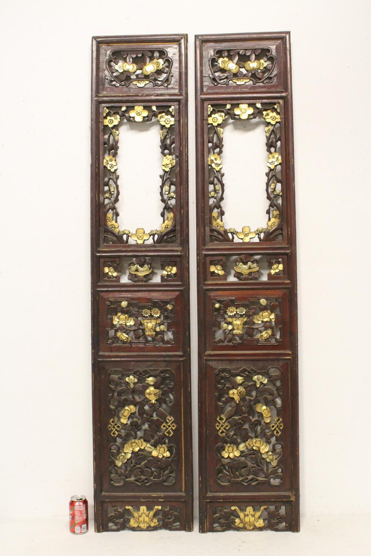 Pr antique Chinese parcel gilt carved wood panels