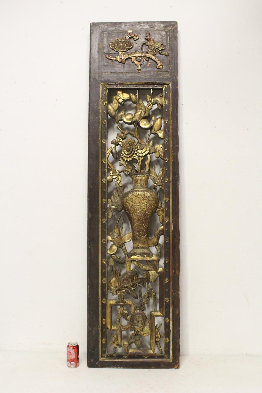 Large Chinese 19th c. gilt and carved wood panel