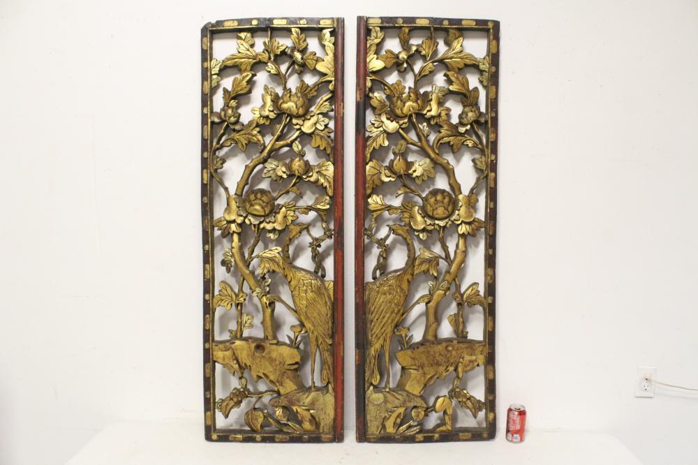 Pair large Chinese antique gilt wood panels