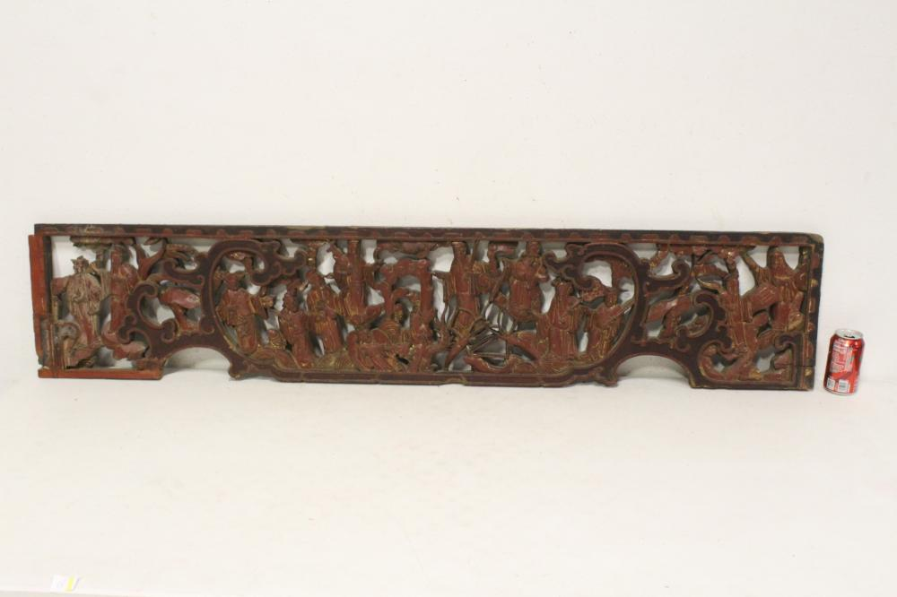 Chinese antique carved wood wall panel