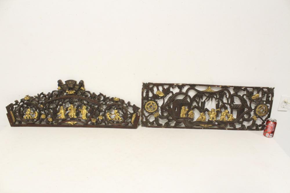 2 Chinese parcel gilt antique wood panels