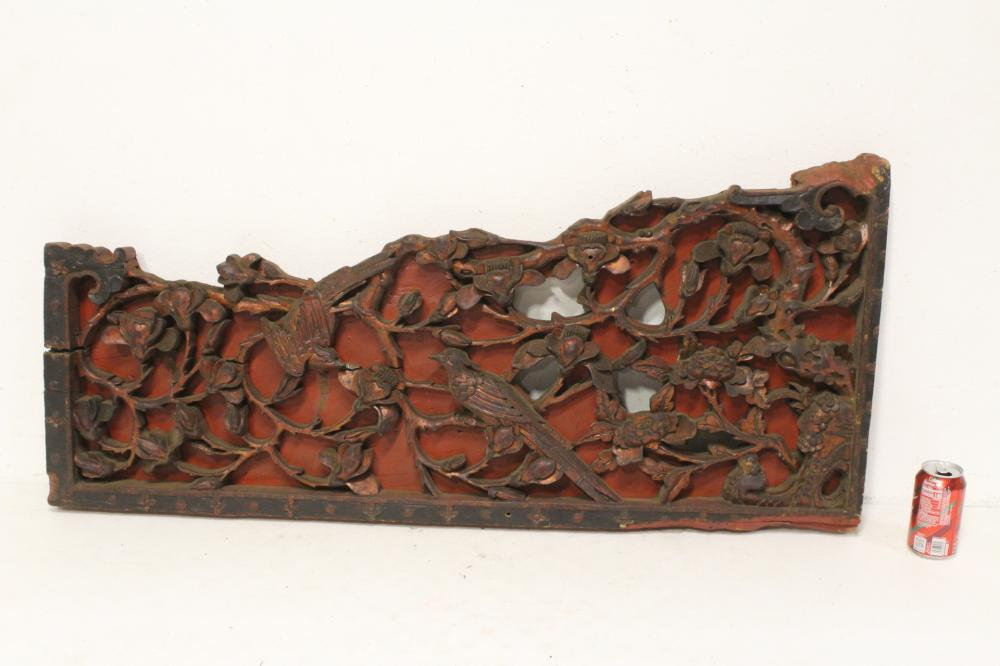 Large Chinese 19th c. deep carved wall panels