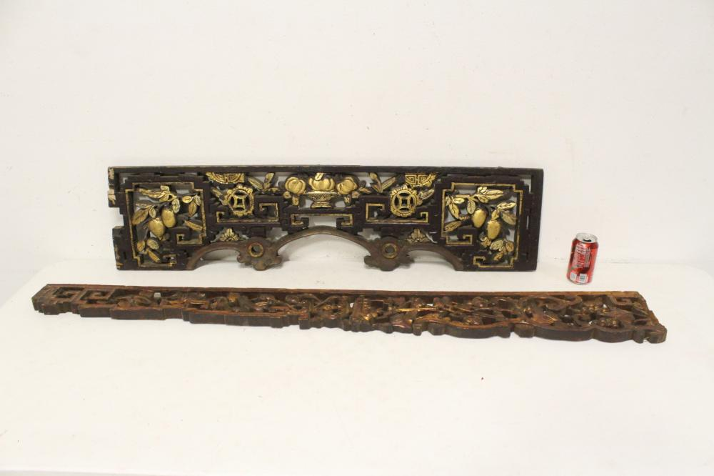 2 Chinese 19th century wood carved wall panels