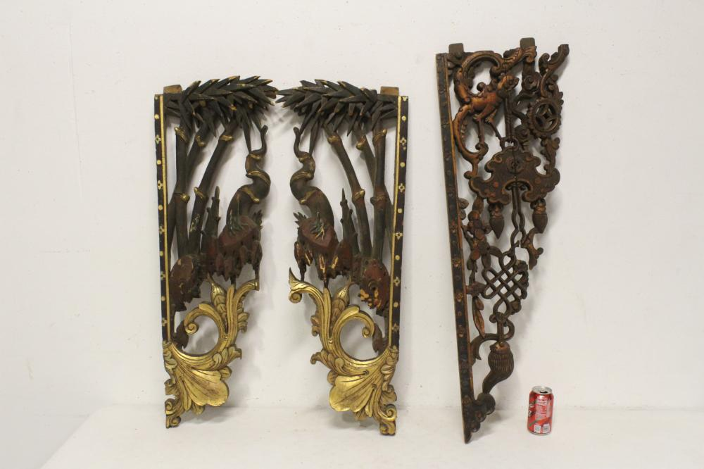 3 Chinese 19th century wood carved wall panels