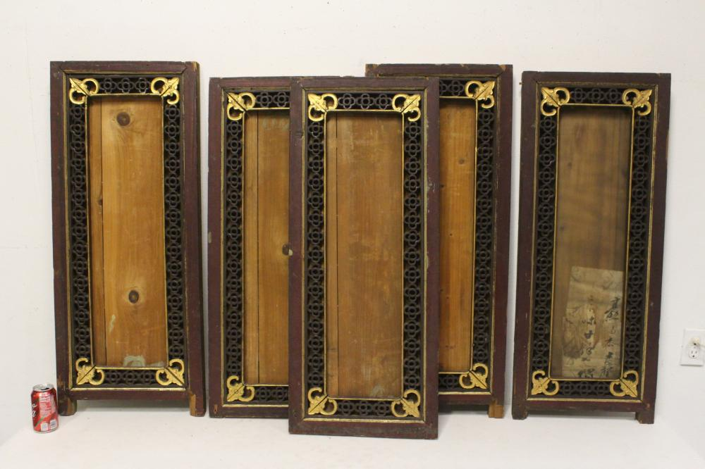5 Chinese 19th century wood carved wall panels