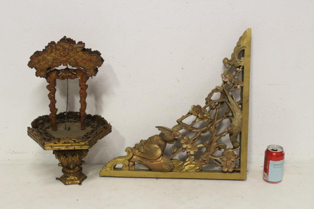 Chinese 19th c. corner bracket & a gilt wood ornament