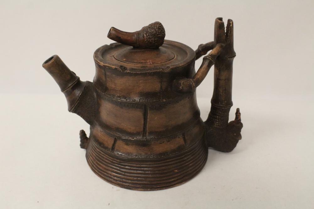 Large Chinese Yixing teapot in bamboo motif