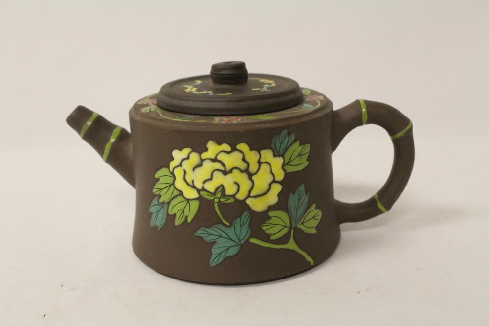 Beautiful Chinese enamel on Yixing teapot